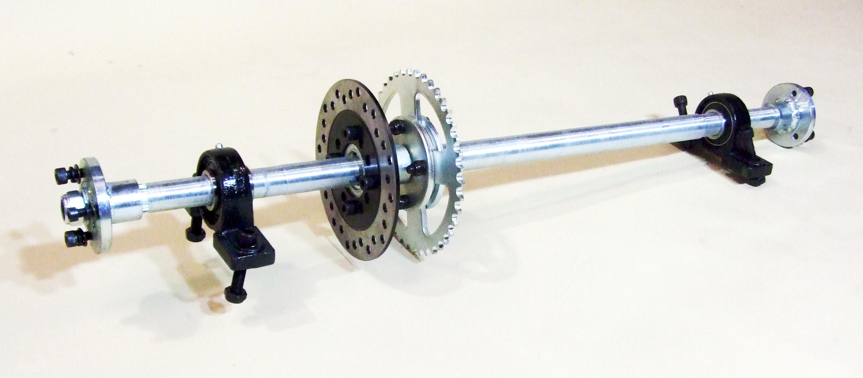 Rear Axle Set 27mm Axle Hubs Rotor Disc Sprocket (420