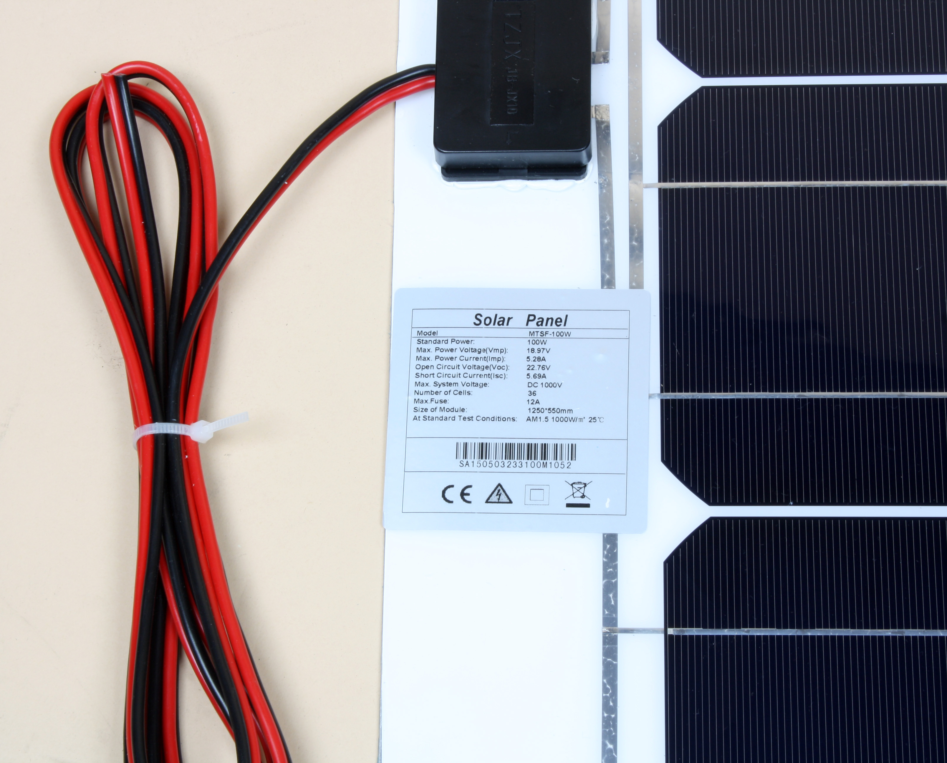 100w Semi Flexible Solar Panel Mono Crystalline Rv Camper Boat Yacht Circuit Current Isc And Short Open Voltage Undefined